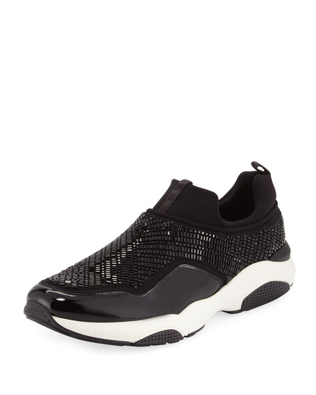 Salvatore Ferragamo Crystal Slip-On Sneaker, Nero