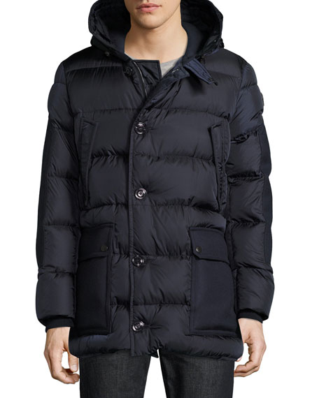 Gaze Down Parka with Detachable Fur-Trim Hood, Navy