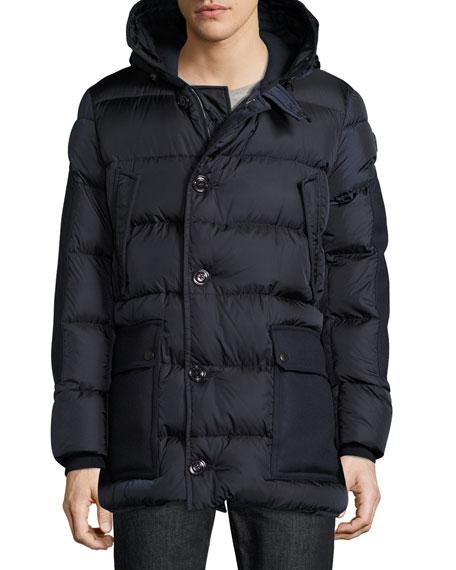 Gaze Down Parka with Detachable Fur-Trim Hood, Navy
