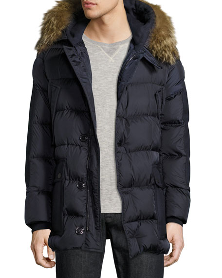Moncler Gaze Down Parka with Detachable Fur-Trim Hood,