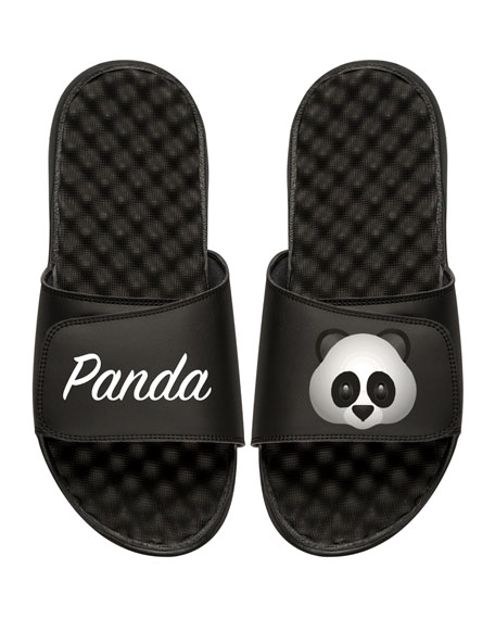Men's Panda Emoji Slide Sandals, Black