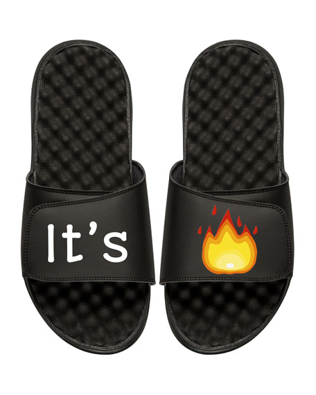 Men's It's Lit Emoji Slide Sandals, Black