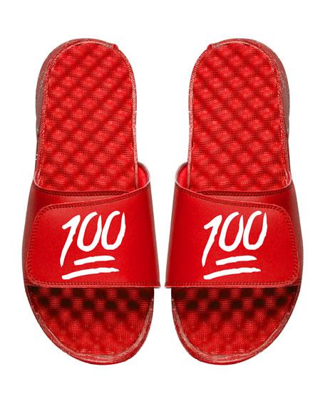 ISlide Men's Keep It 100% Emoji Slide Sandals,