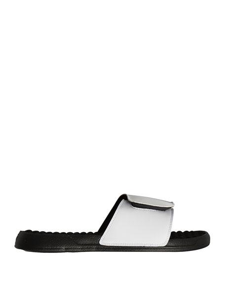Tiger Eyes Slide Sandal, White/Black