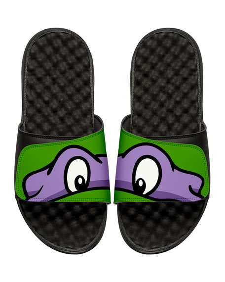 Men's Teenage Mutant Ninja Turtles Donatello Slide Sandals, Black