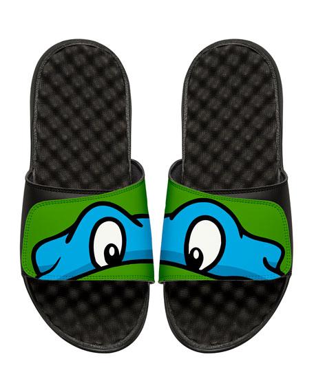 Men's Teenage Mutant Ninja Turtles Leonardo Slide Sandals, Black