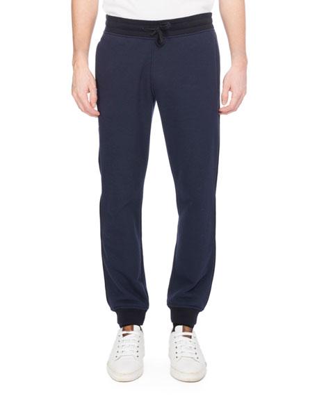 Berluti Leather-Trim Jogger Sweatpants, Dark Blue
