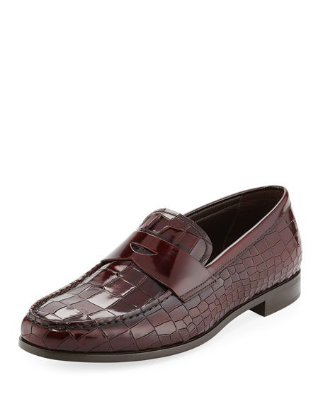 Giorgio Armani Croc-Embossed Patent Leather Penny Loafer, Wine