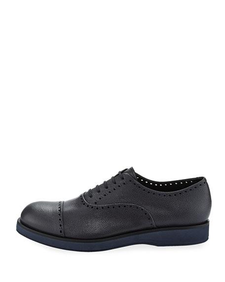 Caviar Leather Brogue Shoe, Blue