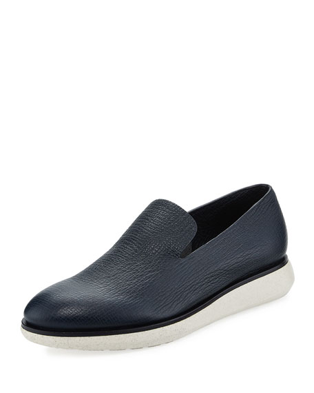 Giorgio Armani Creta Leather Slip-On Shoe, Blue