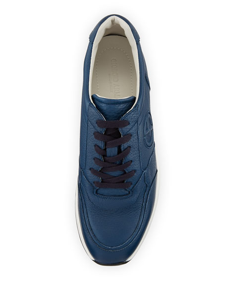 Toro Embossed Leather Trainer Sneakers, Blue