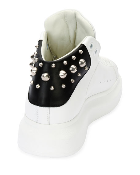 Alexander McQueen Men's Studded Leather High-Top Sneakers, White/Black