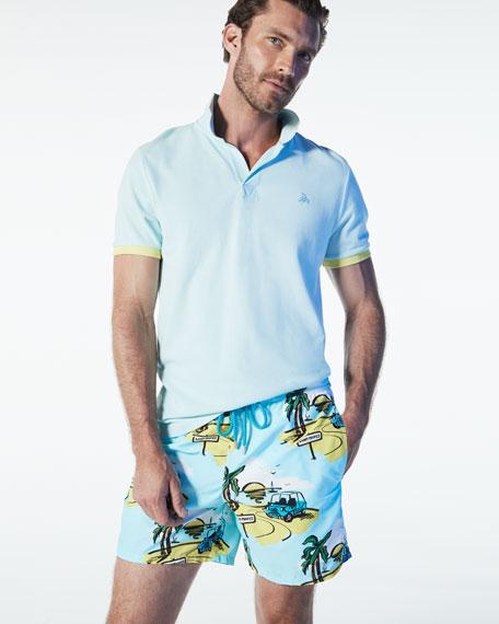 Color-Band Piqué Polo Shirt