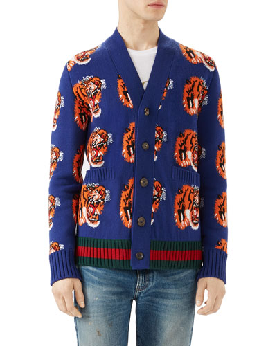 Tiger Jacquard Wool Cardigan, Dark Blue