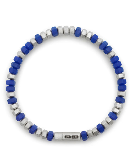 Men's Hex Bead Bracelet, Blue