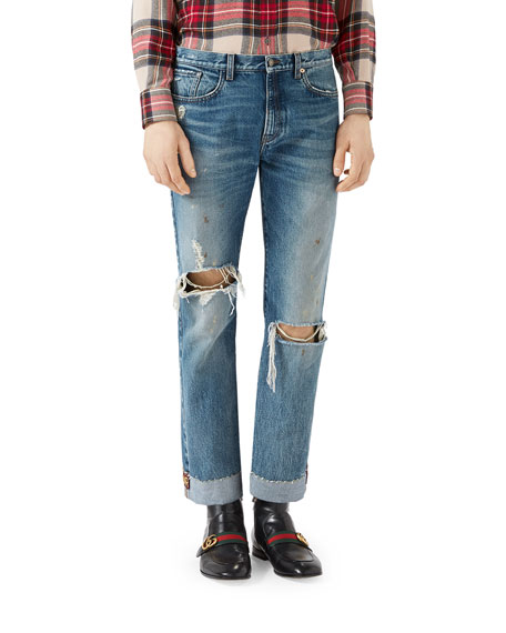 Gucci Ripped Denim Jeans