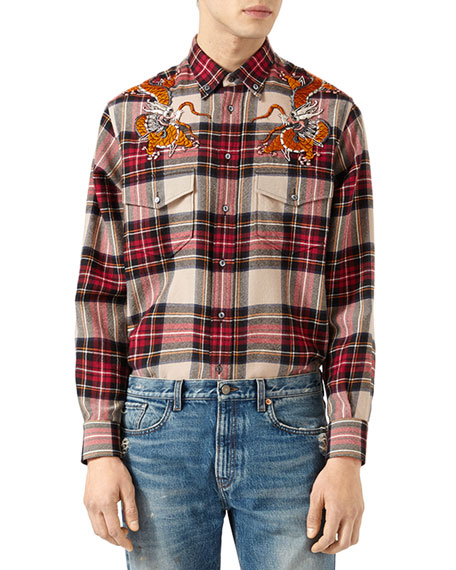 Gucci Check Shirt with Dragons