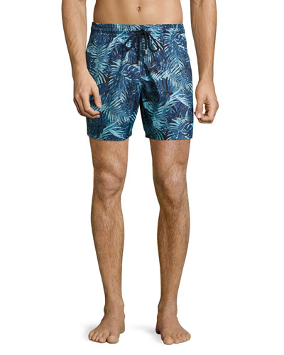 Mahina Tropical Leaves Swim Trunks, Navy/Light Blue