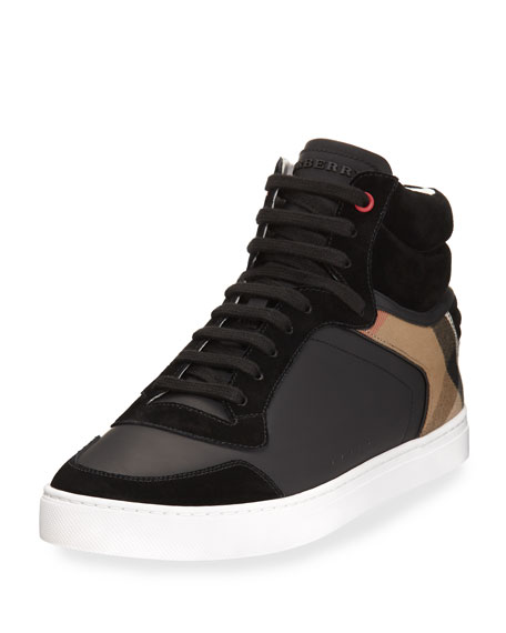 Burberry Reeth Leather & House Check High-Top Sneaker
