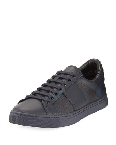 Ritson PVC Check & Leather Low-Top Sneaker, Navy