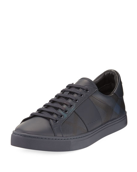 Burberry Ritson PVC Check & Leather Low-Top Sneaker,