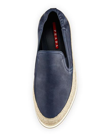 Leather Slip-On Espadrille Sneaker, Blue