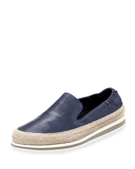 Prada Leather Slip-On Espadrille Sneaker, Blue