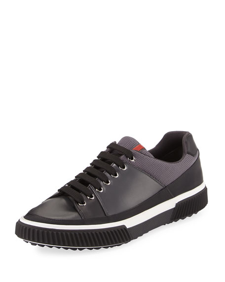 Prada Gentleman Mixed-Media Low-Top Sneaker, Black