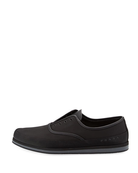 Laceless Slip-On Tennis Shoe, Black