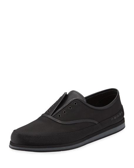 Prada Laceless Slip-On Tennis Shoe, Black