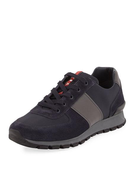 Prada Nylon & Suede Running Sneaker, Blue