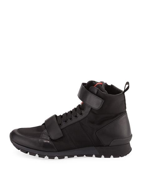 Prada Nylon & Leather Hiking Boot, Black