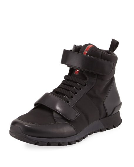 Prada Nylon & Leather Hiking Boot, Black