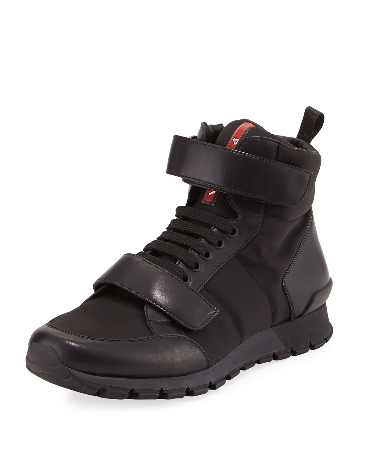 Prada Nylon & Hiking Leather Hiking & Boot, Black c1f36a