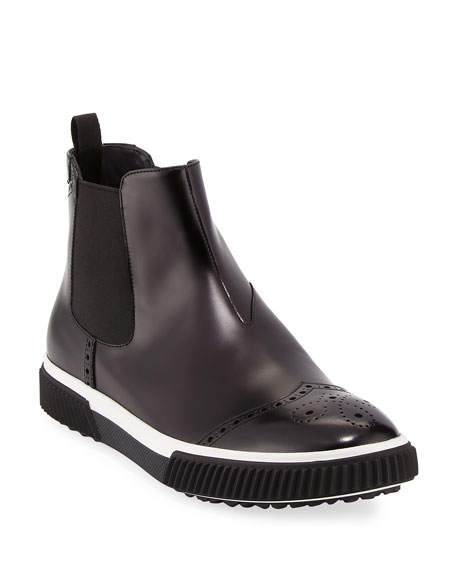 Prada Slip-On Leather Brogue Chelsea Boot, Black