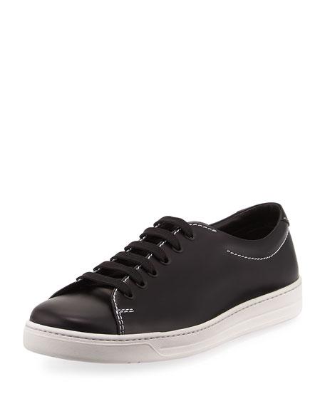 Prada Gentleman Spazzolato Low-Top Sneaker, Black