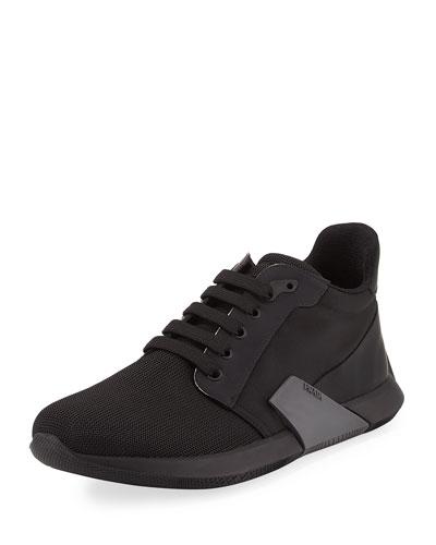 Nylon & Leather Running Sneaker, Black