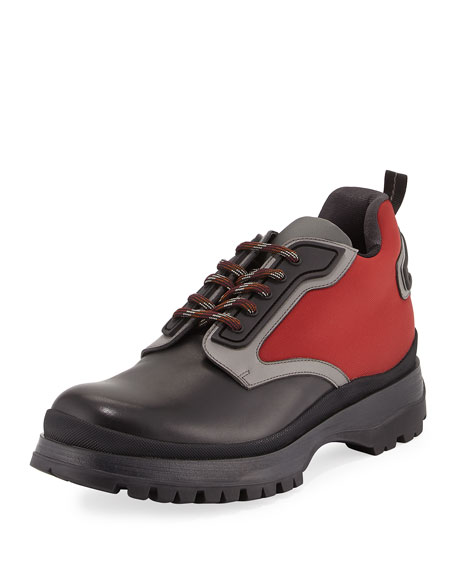 Prada Colorblock Leather & Nylon Short Hiking Boot,