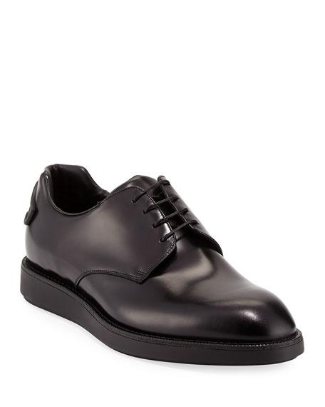 Prada Spazzolato Hybrid Oxford Sneaker, Black