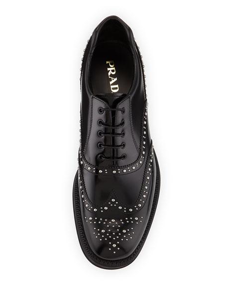 Studded Spazzolato Brogue Dress Shoe, Black