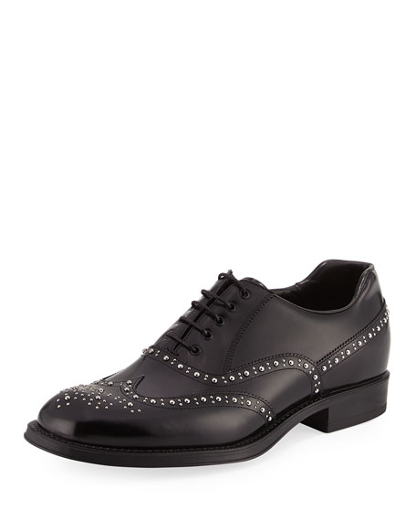 Prada Studded Spazzolato Brogue Dress Shoe, Black