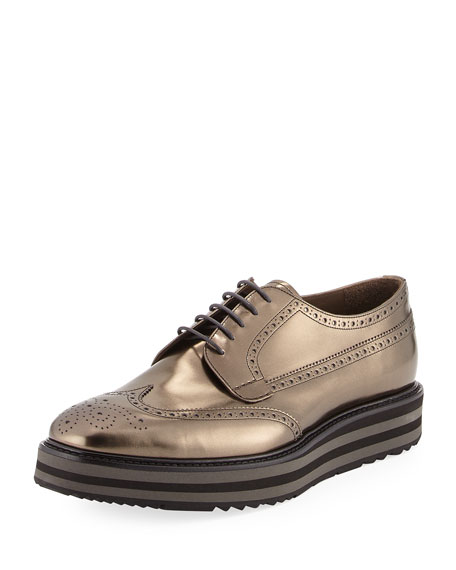 Prada Men's Metallic Leather Brogue Creeper