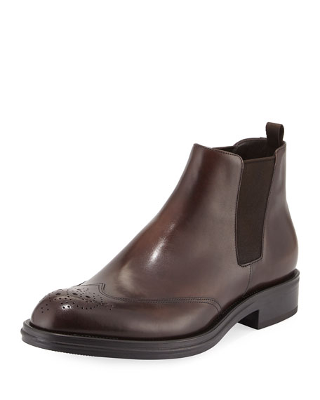 Leather Wing-Tip Chelsea Boots, Brown