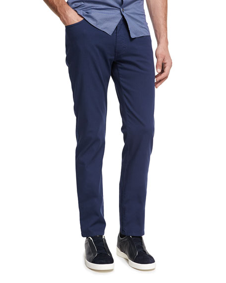 Ermenegildo Zegna New Pique Five-Pocket Pants, Navy