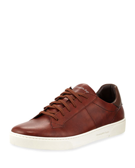 Ermenegildo Zegna Men's Vulcanized Flex Vittorio Leather Sneakers
