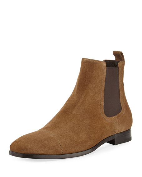 Ermenegildo Zegna Rodrigo Suede Chelsea Boot, Medium Brown