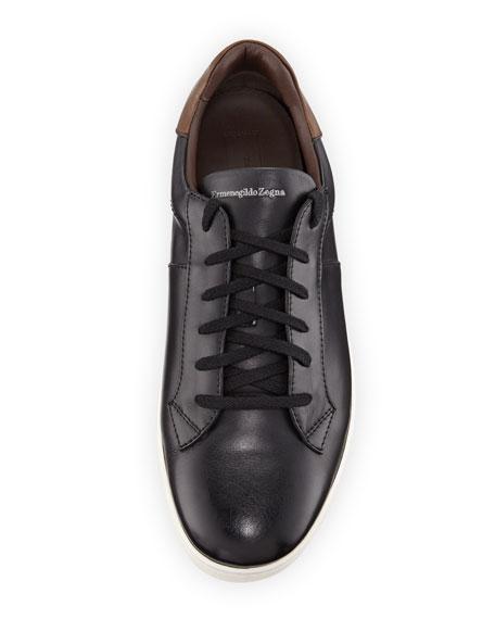 Vittorio Men's Leather Low-Top Sneaker, Black