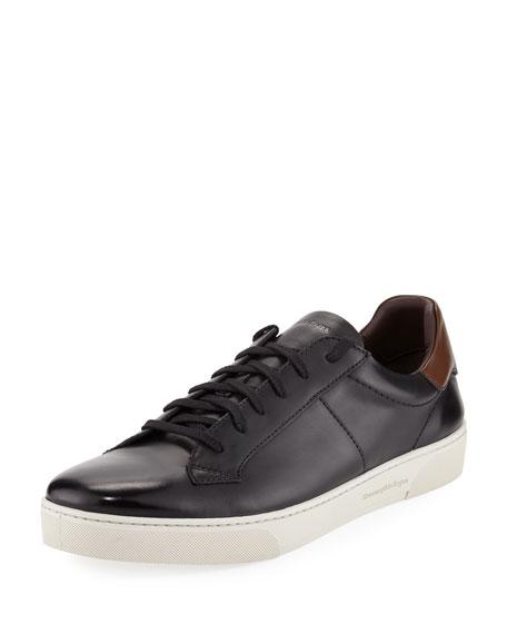 Ermenegildo Zegna Vittorio Men's Leather Low-Top Sneaker, Black