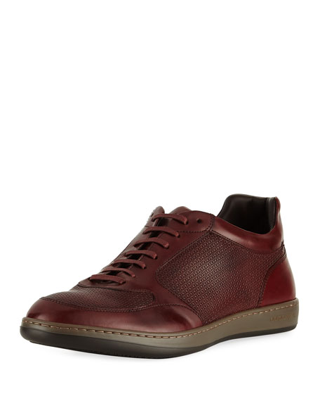 Giorgio Armani Napier Textured Leather Trainer Sneaker