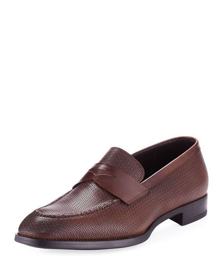 Giorgio Armani Textured Leather Penny Loafer